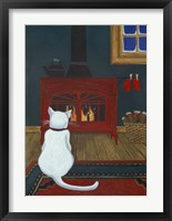 Framed Mittens Warming By The Fire