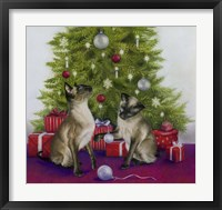 Framed Christmas Siamese Cats
