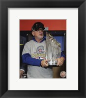 Framed Joe Maddon with the World Series Championship Trophy Game 7 of the 2016 World Series