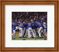 Framed Chicago Cubs celebrate winning Game 7 of the 2016 World Series