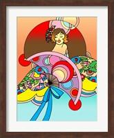 Framed Art Deco Fan Lady