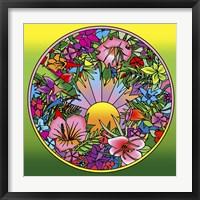 Framed Pop Art Circle Flowers 615