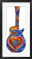 Framed Pop Art Guitar Heart Brush