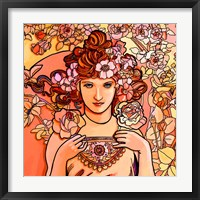 Framed Mucha Lady 116 2