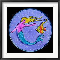Framed Pop Art Mermaid Circle
