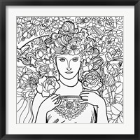 Framed Mucha Lady 2