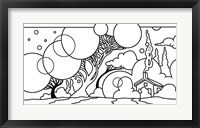 Framed Circle Tree Landscape Lineart