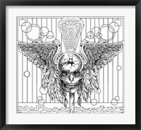 Framed Lacrosse Skull Line Art