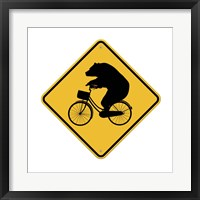 Framed Bears On Bikes Crossing Sign
