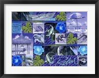 Framed Blue Coastal Mosaic