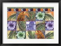 Framed Quilt Palm Flower Mosaic