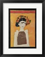 Framed Frida Kahlo White
