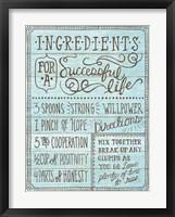 Framed Ingredients For Life I Blue