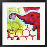 Framed Hot Pink Elephant