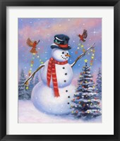 Framed Snowman Decorating the Tree