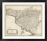 Framed Antique Map of Tuscany