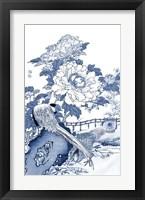 Framed Blue & White Asian Garden II
