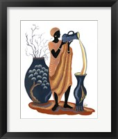 Standing And Pouring Orange Dress Framed Print