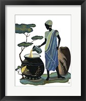 Woman Pouring In Blue Framed Print