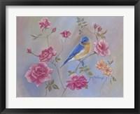 Framed Blue Bird In Roses