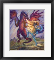 Framed Blue Knight And Dragon