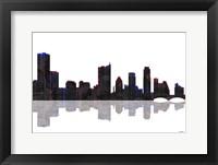 Framed Austin Texas Skyline BW 1