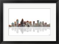 Framed Charlotte NC Skyline BW 1