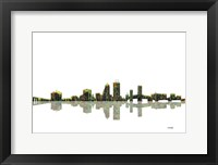Framed Jacksonville Florida Skyline BW 1