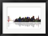 Framed San Francisco California Skyline BW 1