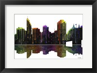 Framed Cincinnati Ohio Skyline BW 1