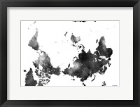Framed Upside Down Map Of The World BG 1