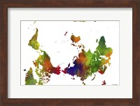 Framed Upside Down Map Of The World Clr 1