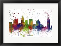 Framed Atlanta Georgia skyline Multi Colored 1