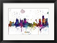 Framed Boston Mass Skyline Multi Colored 1