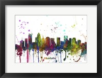 Framed Charlotte NC Skyline Multi Colored 1