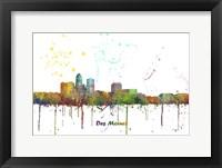 Framed Des Moines Iowa Skyline Multi Colored 1