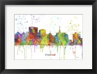 Framed Oakland California Skyline Multi Colored 1