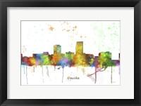 Framed Omaha Nebraska Skyline Multi Colored 1