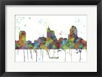 Framed Raleigh North Carolina Skyline Multi Colored 1