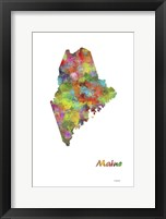 Framed Maine State Map 1