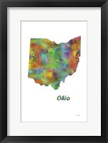 Framed Ohio  State Map 1