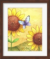 Framed Sunflower and Butterfly