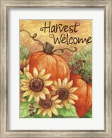 Framed Pumpkin Sunflower Flag