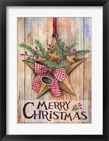 Framed Merry Christmas Barn Star