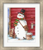 Framed Red Barn Snowman with Friends