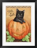Framed Trick Or Treat Black Cat