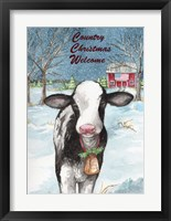 Framed Country Christmas Cow Flag
