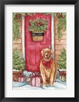 Framed Golden At Christmas Door