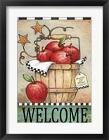 Framed Welcome Apple Basket