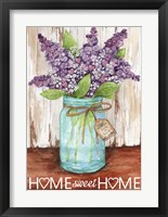 Framed Lilacs Home Sweet Home Jar